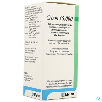 Creon 35000 420mg Maagsapresist Harde Caps 100