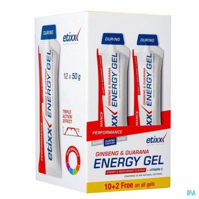 Etixx Ginseng&guarana Energy Gel Red Currant-cherry 12x50g