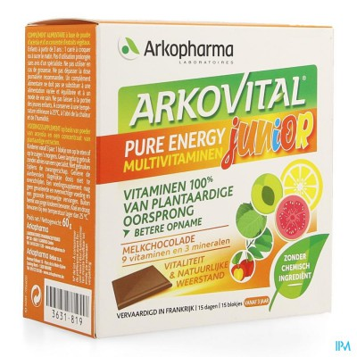 Arkovital Pure Energy Junior Chocolade Blokje 15